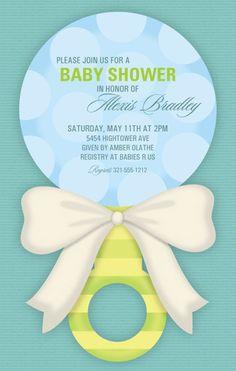 Sweet Boy Rattle Baby Shower Invitation