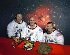 "The ORIGINAL Crew of Apollo 13. Astronaut T.K. ""Ken"" Mattingly was the original Command Module Pilot until it was thought he was exposed to the Measles (Ken is the one in the center of the picture). He was replaced by John (Jack) Swigert, Jr."