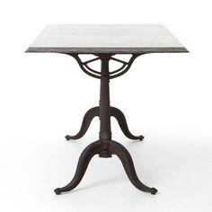 "Parisian Industrial Cast Iron + Bluestone Bistro Dining Table, 64x32"" | Zin Home"