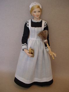 Inspired by the lady's maid, Anna Smith, from Downton Abbey, this dollshouse doll was created by Debbie Dixon-Paver.