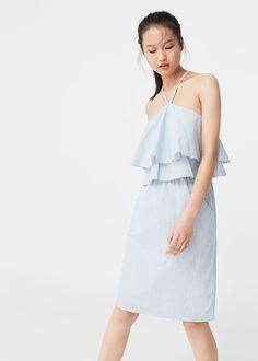 Bawełniana sukienka z falbaną   MANGO