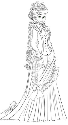 Lineart - Vintage Princess Rapunzel- The only thing that would make Tangled better is being set in the Victorian Era.