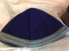 Viking, Norse, Anglo Saxon, blue wool hat, handmade inkle trim dark and light grey