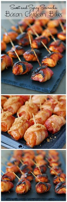 Sweet and Spicy Sriracha Bacon Chicken Bites #appetizer #partyideas #bacon Chicken, bacon: https://www.zayconfoods.com/campaign/14