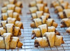 TESTED AND PERFECTED RECIPE - Delicious to eat and fun to make, rugelach are miniature crescent-rolled pastries with a sweet filling. Rugelach Recipe, Rugelach Cookies, Rosh Hashanah, Cinnamon Cream Cheeses, Holiday Cookies, Raisin, Cookie Recipes, Bread Recipes, Dessert Recipes
