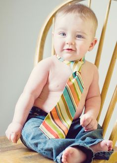 Baby boy first birthday - in jeans and a tie!  Cuuute!