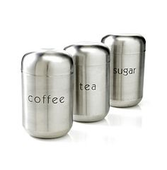LivingQuarters Set of Three Stainless Steel Canisters