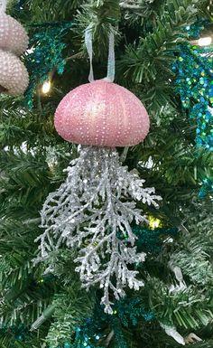 Christmas Ornaments, Christmas Decor, Christmas Tree Ornaments, Beach Ornaments, Unique Christmas Ornaments, Shell Ornaments, Jellyfish by Ancientvibrationshop on Etsy