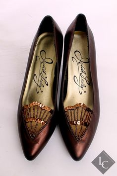 Vintage 1950s Judith Lesley Bronze Heels w/ by LondonCouture, $30.00