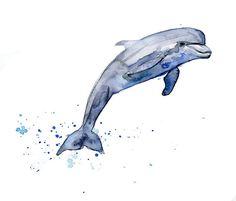 Origineel waterverf schilderij van een springende door Zendrawing, €47.50