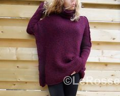 Slouchy/Oversised / Loose knit sweater. Alpaca womens sweater.