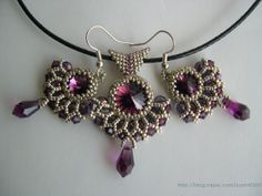 Purple pendant earrings set