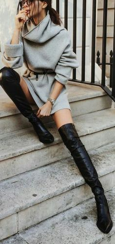Street trendy style. OTK boots, thigh high boots, leather boots, sweater weather,sweater dress, winter outfit, fall outfit
