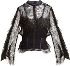 Bell-sleeved layered-lace blouse #backed#Chantilly#tulle