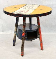 Round Oil Drum Dining Table With Storage Compartment Urban Furniture, Retro Furniture, Furniture Design, Dining Table With Storage, Garden Mirrors, Drum Table, Rustic Chair, Timber Wood, Outdoor Garden Furniture