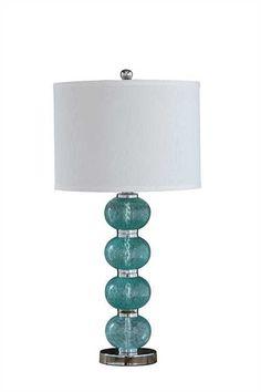 Glass Table Lamp W/ Linen Shade Aqua Silver Country Contemporary Home Lighting Decor