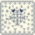 Sampler_abc_coeurs Alphabet sampler done in monochrome; do in color of choice; this one done in indigo; I could see this in black; pattern from France; beautiful with heart border: valentine gift?