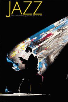 A tribute to The Duke, famous Duke Ellington Denmark 1989 . Size 150 x 100 cm Silkscreen .
