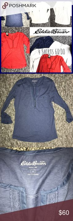 NWT 4 shirts for 60.00 Eddie Bauer 3:4 sleeve top New with tags Eddie Bauer 3/4 three quarter sleeves . Some are long sleeve can roll up to 3/4 with button . Are V-neck and have a string embellishment around neck for eye catching detail . Pocket on some all button up / down . Range from small to medium (all fit about the same )buy individually for 20 a piece (ask I will make extra listing ) all new some NWOT tags : long sleeve short sleeve tees t shirt blouse inc international concepts…