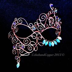 Masquerade Mask WireWrapped Maskquerade Mask by CobaltandCopper, $100.00