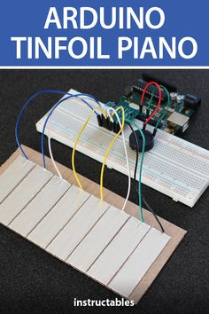 What song will you play on this Arduino tinfoil piano. #Instructables #electronics #technology #education #music Useful Arduino Projects, Arduino Class, Piano Keys, Wood Turning, Dom, Circuit, Keyboard, Lego, Challenges