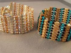This free beaded bracelet pattern uses Swarovski crystal beads and glass cube beads to make a sleek and sparkling cuff bracelet.: Sparkling Crystal and Cube Bead Bracelet