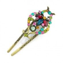 """Vintage Style Czech Crystal Rhinestone Multi-colored 2-prong Hair Stick Claw 4"""""""