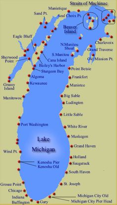 "Map showing the approx. 88 lighthouses along the shoreline of Lake Michigan, which has more lighthouses than any of the other Great Lakes. In contrast to Lake Huron's primarily rocky shoreline, Lake Michigan's shores is blanketed with magnificent sand dunes, causing the shoreline from the Indiana border to Sleeping Bear Dunes to be dubbed ""Michigan's Golden Coast""."