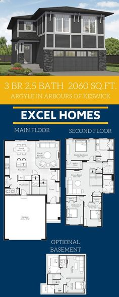 Home Floorplans with optional basement! View more of this home: Argyle in AOK 3 Bedroom Home Floor Plans, Modular Home Floor Plans, Small House Floor Plans, Dream House Plans, Floor Plans 2 Story, Build Your House, Master Room, Basement Bedrooms, House Blueprints