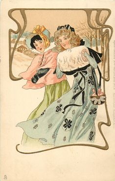 two elaborately dressed girls in winter capes & muffs, art nouveau gilt border to winter rural inset, left & above