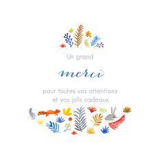 Carte de remerciement Petite balade en forêt blanc Illustration Marguerite Courtieu pour Atelier Rosemood