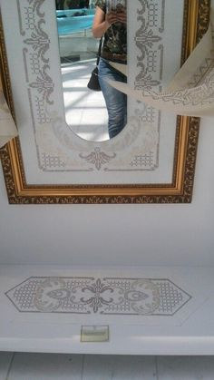 Cross Stitch Embroidery, Hand Embroidery, Newspaper Crafts, Cross Stitch Borders, Herd, Black And White, Mirror, Frame, Modern