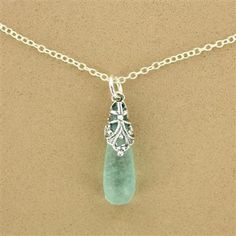 Sterling Silver Washed Roman Glass Cutout Drop Necklace