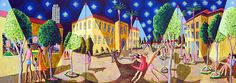 starry night on neve ztedeq tel aviv  naive paintings art naife artist raphael perez israeli painter
