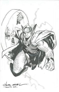 Olivier Coipel: B Thor in Flight