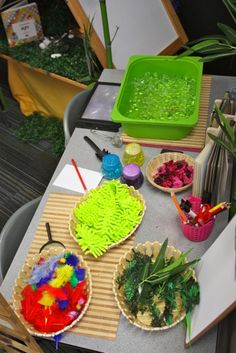 various different sensory tables. Music, water, light, others. Pictures only