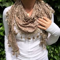Floral triangle scarf with lace trim Soft brown shawl Tattered scarf Brown floral neck scarf lace edges Summer scarf Fashion accessories by MintValley on Etsy
