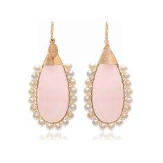 Green Lolitas│Beck Jewels │Handmade in Brooklyn │ Freshwater pearls and a large natural Rose Quartz gemstone earrings