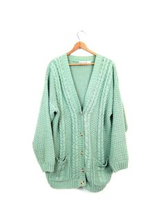 b705344d40 Chunky Knit Cardigan Sweater Button Up Pale by dirtybirdiesvintage Chunky  Knit Cardigan