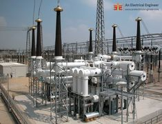 A gas-insulated substation (GIS) uses a superior dielectric gas, at moderate pressure for phase-to-phase and phase-to ground insulation. Electrical Projects, Electrical Engineering, Electrical Substation, Oil Rig Jobs, Transmission Tower, Electric Utility, Architecture Concept Diagram, Hydroelectric Power, Systems Engineering