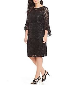 89c55c6b6baa1 R   M Richards Plus Size Sequin Lace Bell Sleeve Dress Bell Sleeve Dress