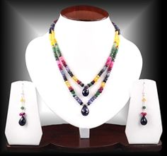 double row multicolor beauty. precious rubies, emeralds, sapphire beaded necklace from india.