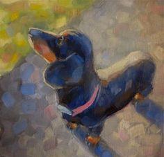 "Daily Paintworks - ""Dachshund"" - Original Fine Art for Sale - © Maria Z."