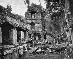 Palace of Palenque People stand among the ruins of the Maya Palace of Palenque in Chiapas, Mexico. This Alfred P. Maudslay photograph appeared in Biologia Centrali-Americana: Archaeology, issued between 1889 and 1902 National Geographic, Tikal, Ansel Adams, Monuments, Mesoamerican, World Geography, Mayan Ruins, Archaeological Site, Archaeological Discoveries