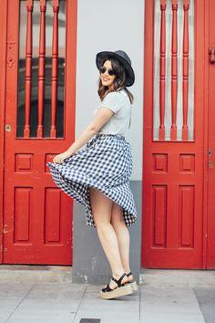 falda cuadros vichy con plataformas de esparto asos look myblueberrynightsblog