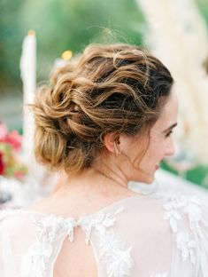 9c157e4f Curled soft fine art updo on a bride wearing a Poppy Marchesa long sleeve  gown,