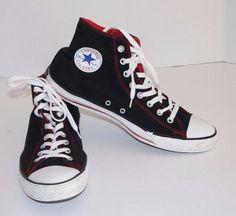 Converse All Star Hi Sneaker J827 Black/White/Red Size Mens Size 12 Womens Sz 14 #Converse #FashionSneakers