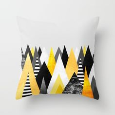 Buy Yellow Peaks Throw Pillow by Elisabeth Fredriksson. Worldwide shipping available at Society6.com. Just one of millions of high quality products available.