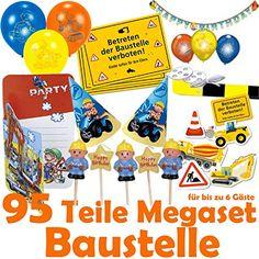 95-teiliges * BAUSTELLE * DEKO PARTY SET für Kindergeburtstag oder Motto-Party mit bis zu 6 Gästen: Einladungen, Platzsets, Partyhütchen, Banner, Mini-Kerzen, Absperrband, XXL-Konfetti, Luftschlangen, Luftballons, u.v.m. // Mottoparty Bob der Baumeister Betonmischer Bagger DH Konzept/Riethmüller/Dekospass http://www.amazon.de/dp/B012SQW5QU/ref=cm_sw_r_pi_dp_-Dk1wb1VDQK4B