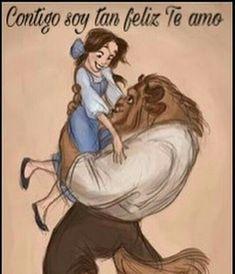 Contigo soy tan feliz. ❤ Te amo. Disney Pixar, Disney Amor, Art Disney, Film Disney, Disney And Dreamworks, Disney Magic, Disney Kunst, Disney Princess Belle, Disney Beauty And The Beast
